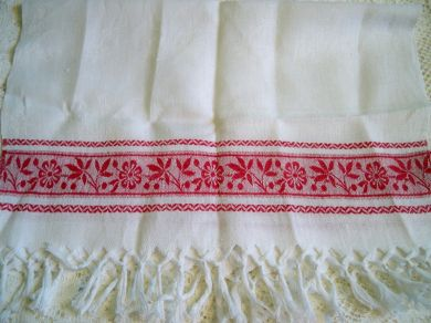 Antique Turkey Red Linen Damask Fringed Towel