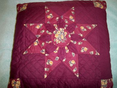 Vintage 1930s 8 Point Star Quilted Pillow Boudoir Parlor