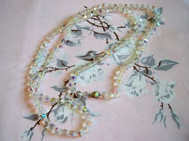 Vintage 1950s Aurora Borealis Crystal Bead Flapper Necklace Wedding Jewelry