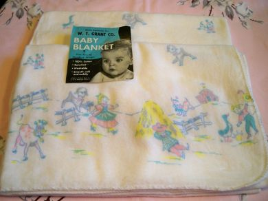 Vintage Baby Cotton Receiving Blanket Farm Print Pair