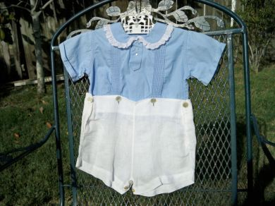 Vintage 1930s Baby Boy Blue Onesie / Short Set Saks Fifth Avenue