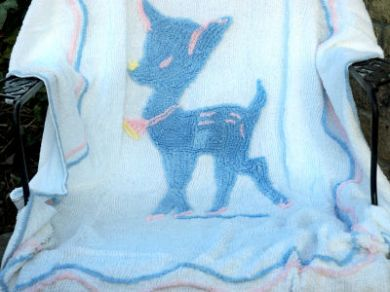Vintage 1950s Cotton Chenille Baby Bedspread Crib Bed Blanket Bambi Deer Fawn