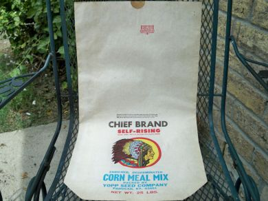 Vintage 1960s Chief Brand Corn Meal Mix Paper Bag Advertising Ephemera 25 Lb Bag Mint