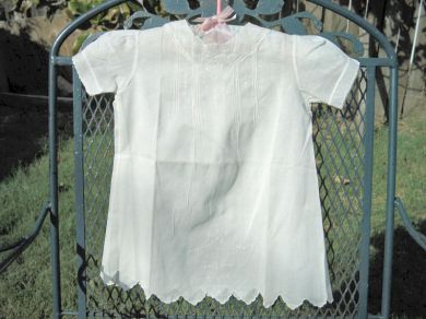 Vintage 1930s White Embroidered Baby Gown / Dress