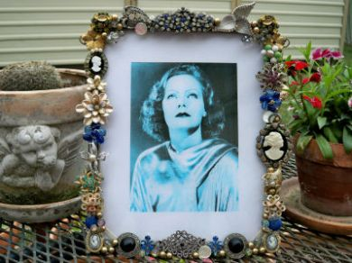 Vintage Rhinestone Cameo Jewelry 1930s Picture Photo Frame Brooches Earrings Greta Garbo SALE