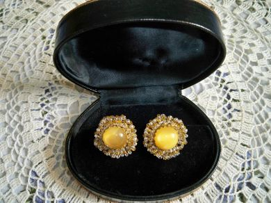 Vintage 1950s Miriam Haskell Yellow Moonglow Cabochon Earrings Bridal Wedding Something Old