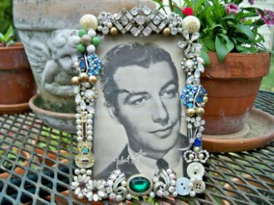 Vintage Rhinestone Jewelry 1930s Picture Photo Frame Brooches Earrings Robert Taylor