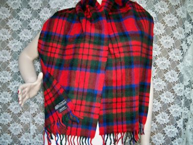 Vintage Scottish Cashmere Scarf MacDuff Tartan by Crombie of Scotland SALE