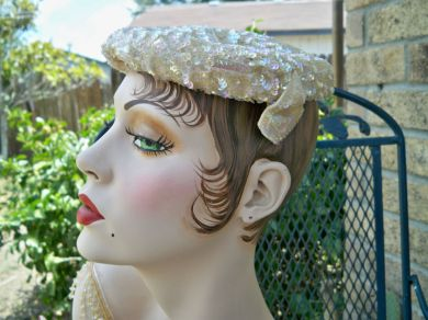 Vintage 1940s Ladies Sequined Cocktail Hat Lace Lining